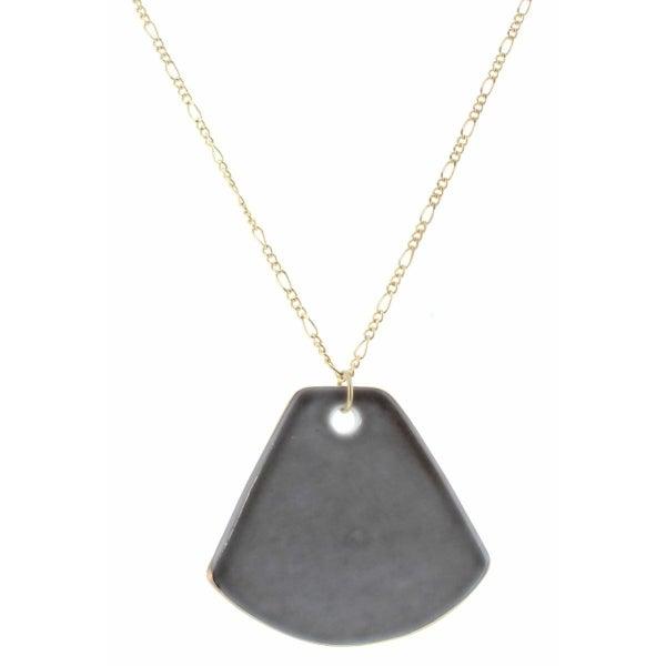 Smokey Grey Ceramic Fan Necklace