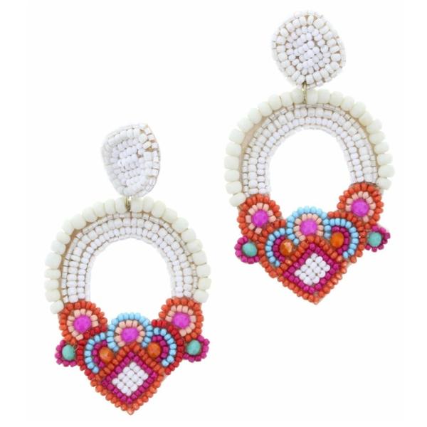 White Beaded Post Earrings