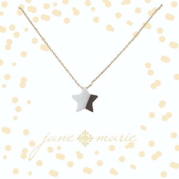 White and Gold Star Necklace
