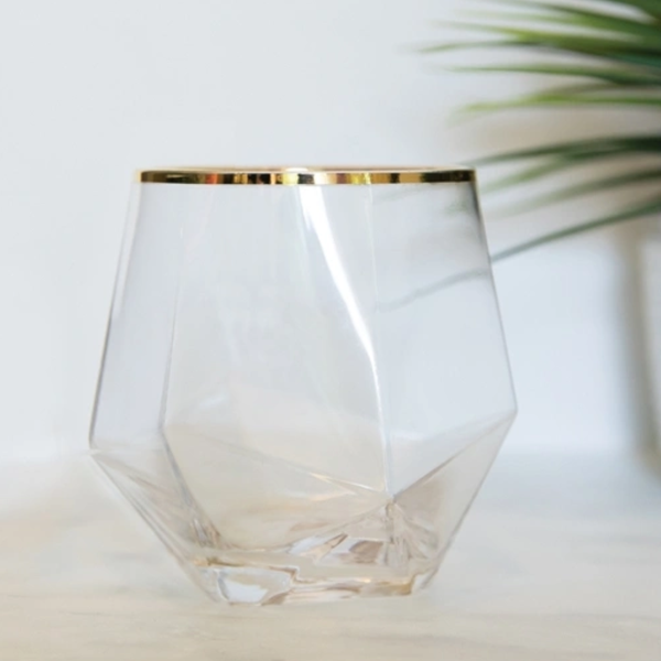 Geometric Stemless Wine Glass