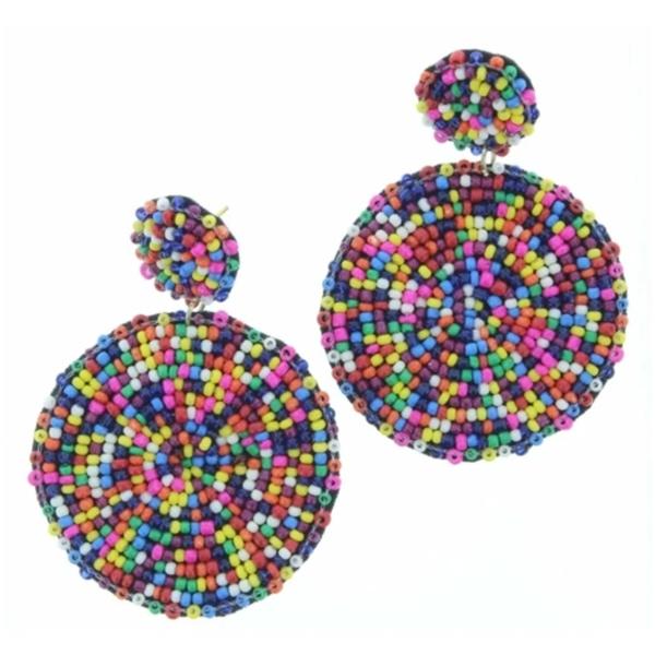 Multi Beaded Post Earrings
