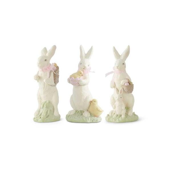 White Resin Glittered Bunnies