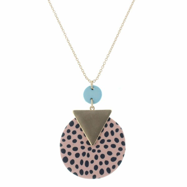 Muted Blue and Peach Clay Necklace
