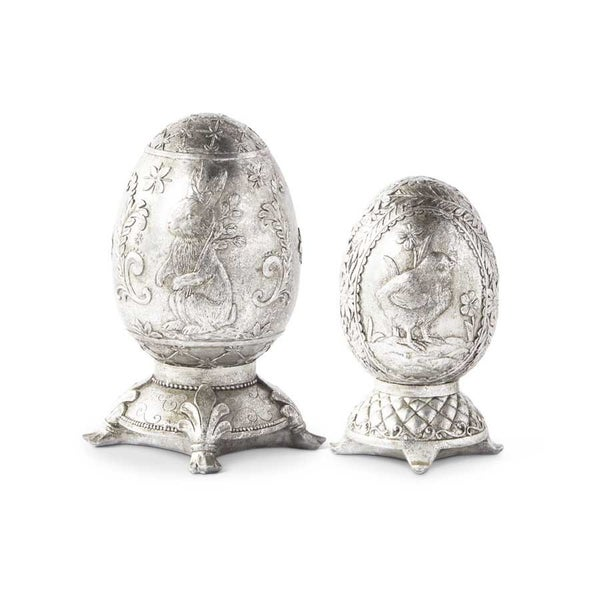 Silver Foiled Eggs On Base