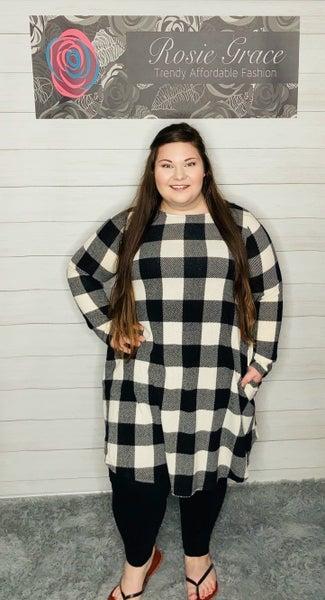 Ivory/Black Plaid Swing Dress