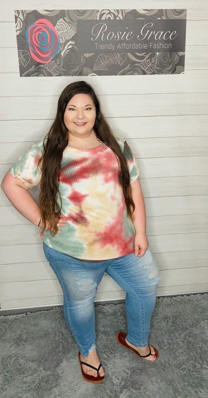 Rust and Sage Tie Dye Waffle Knit Top