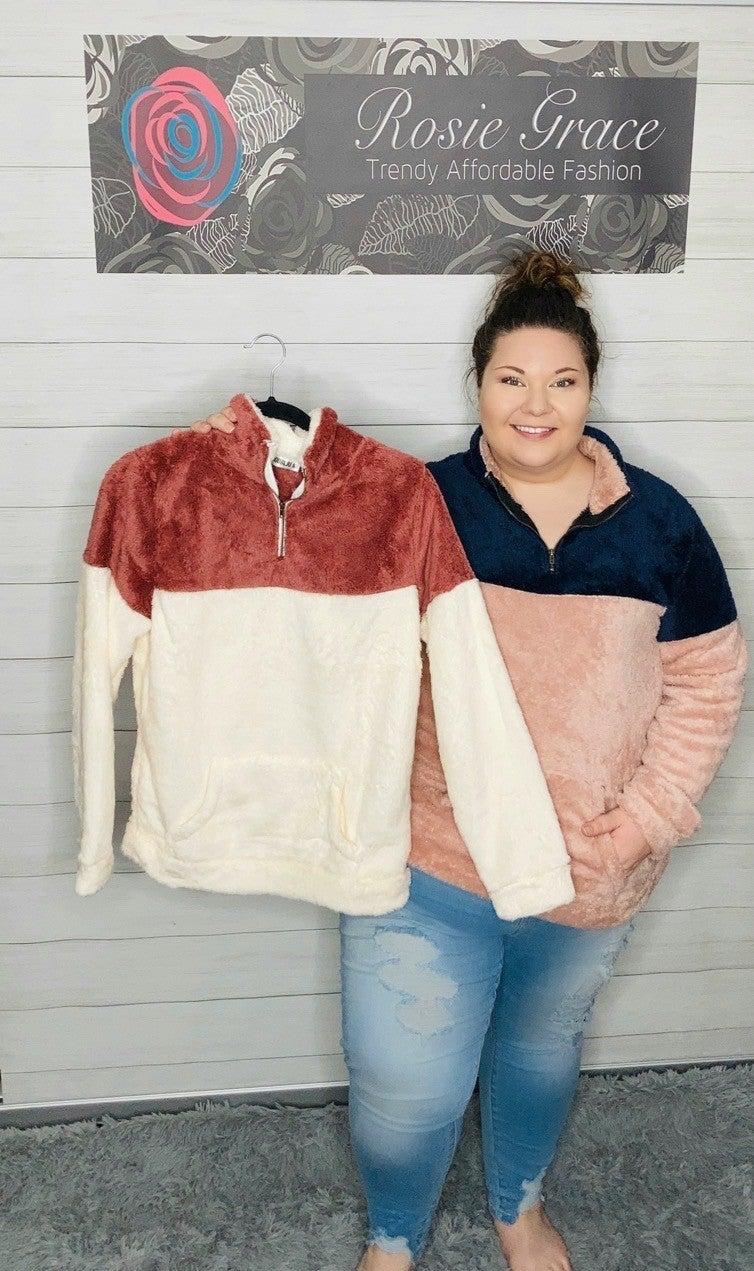 Color Block Sherpa Pullover