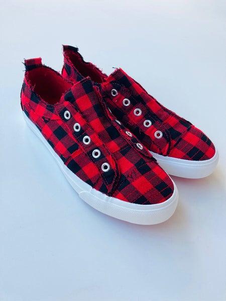 Corkys Red Plaid Babalu Slip-On Sneaker