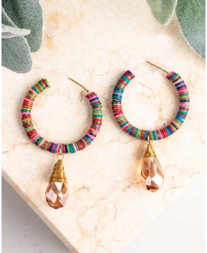 Rainbow Beaded Hoop Earrings with Teardrop Jewel
