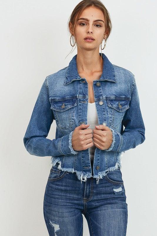 Cropped Raw Cut Denim Jacket