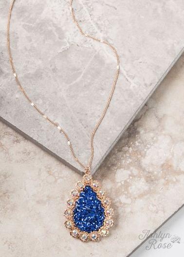 Blue Glitter Teardrop Necklace