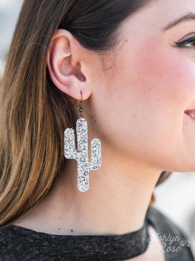 Silver Glitter Cactus Earrings
