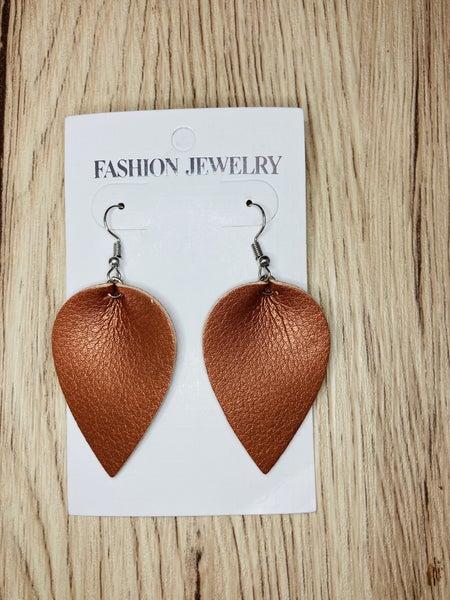 Copper Metallic Leaf Drop Earrings