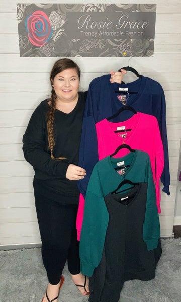 Zenana V-Neck Sweatshirt