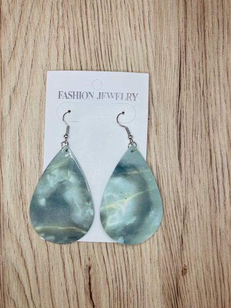 Green Marbled Teardrop Earrings