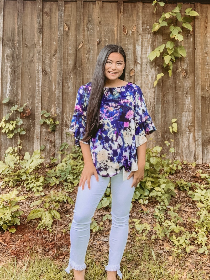 Tie Dye Blouse With Venezia Bell Sleeves