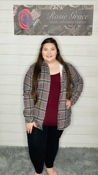 Grey/Black Plaid Fleece Lined Flannel
