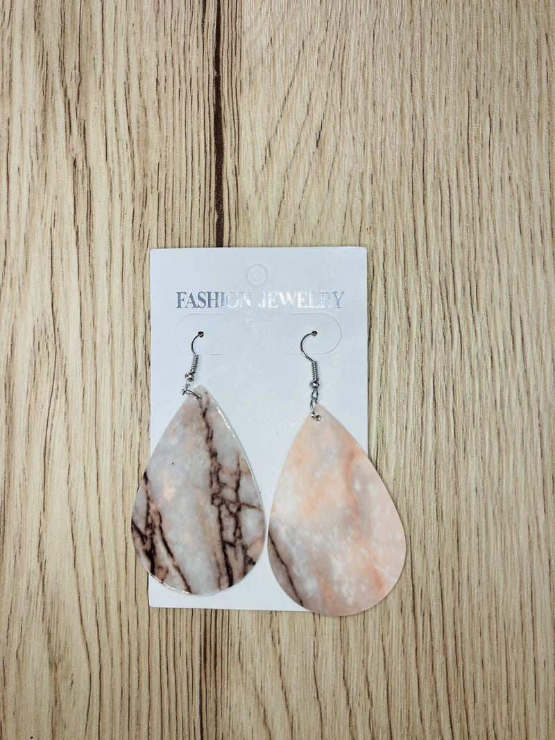 Peach Black Marbled Teardrop Earrings