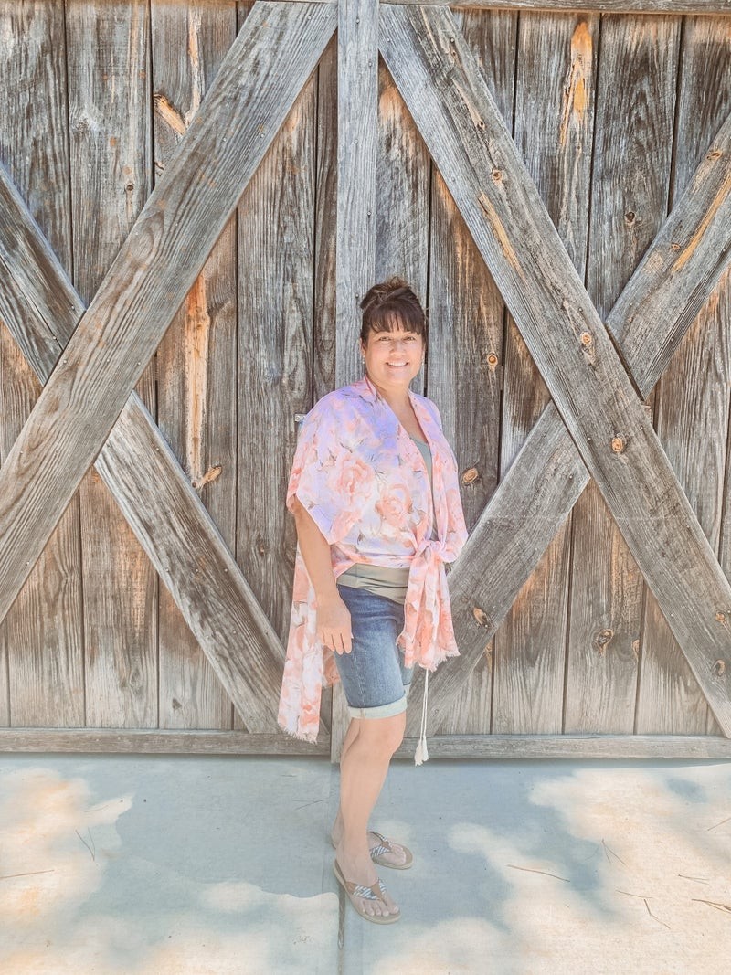 Pink Floral Kimono With Tassels