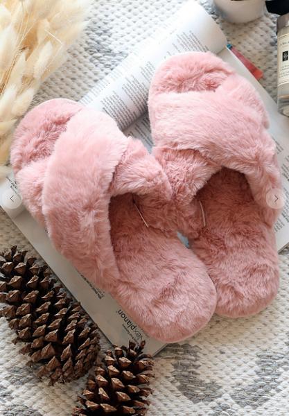 Pink Fur Criss Cross Slippers