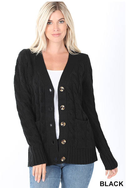 Zenana Cable Knit Button Cardigan w/ Pockets