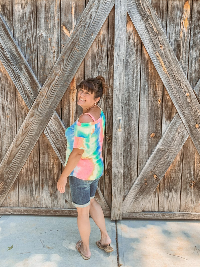 Tie Dye Top With Shoulder Cut Out
