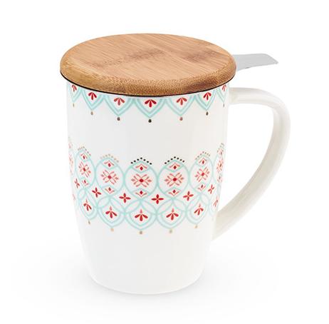 Bailey Arabesque Ceramic Tea Mug and Infuser