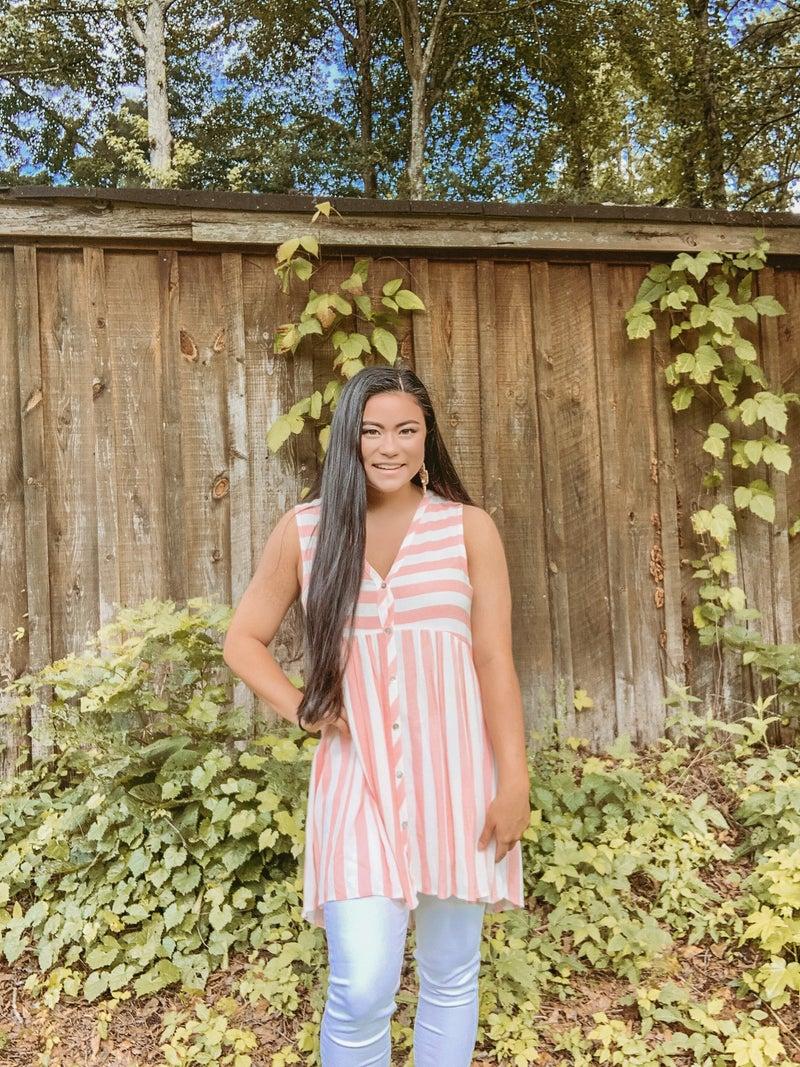 Sleeveless Button Down Stripe Linen Top