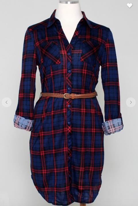 Blue/Red Plaid Flannel Dress *Final Sale*