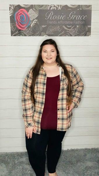 Tan/Black Plaid Fleece Lined Flannel