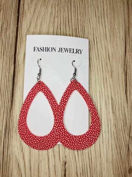 Open Hot Pink Tear Drop Earrings