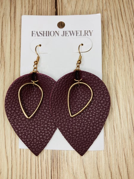 Burgundy Leaf Earrings