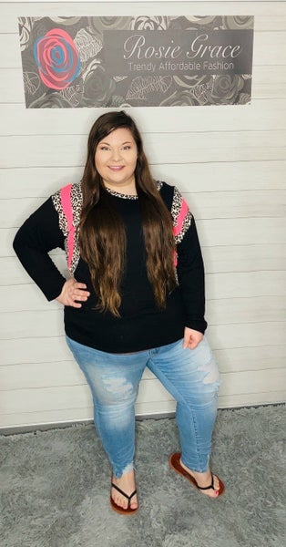 Black Long Sleeve Top Cheetah and Hot Pink Accents