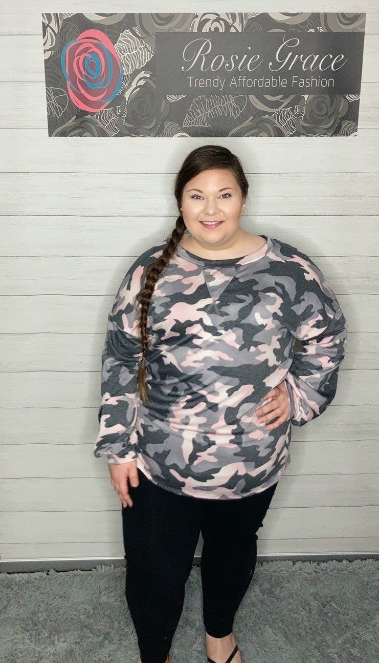 Pink Camo Bubble Sleeve Knit Top