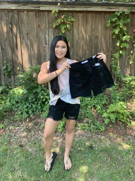 YMI Black Distressed Raw Hem Shorts *Final Sale*