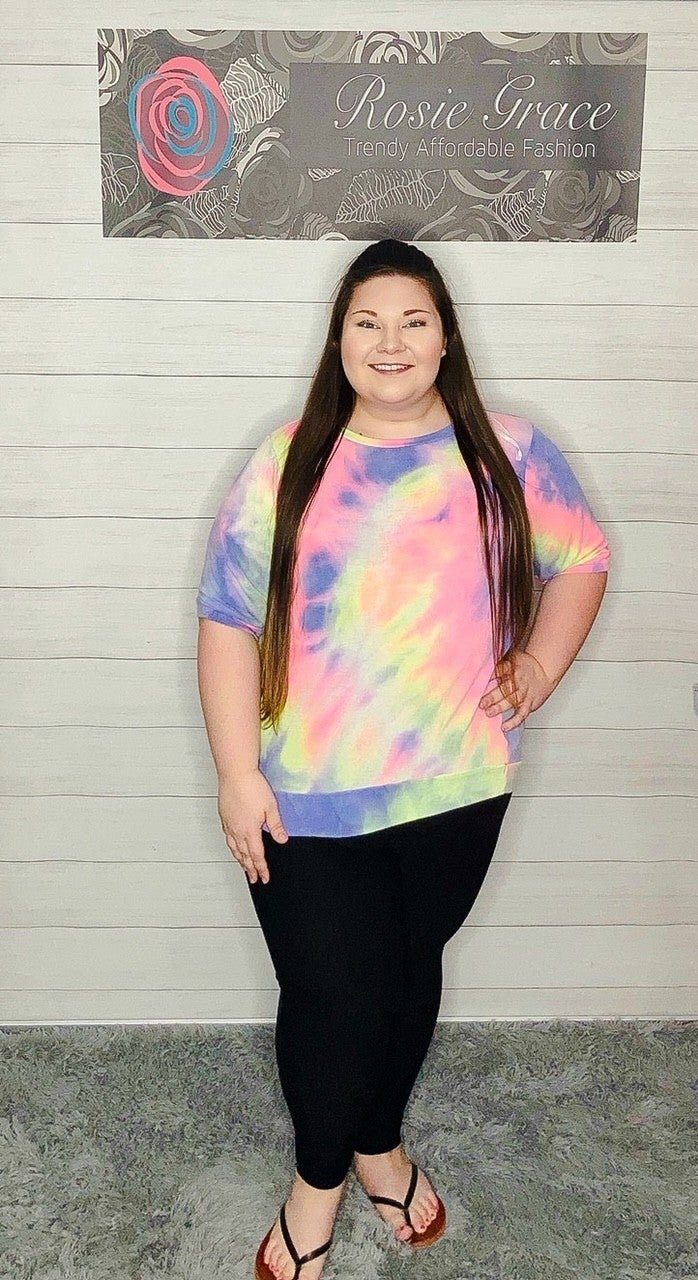 Tie Dye Terry Short Sleeve Pullover