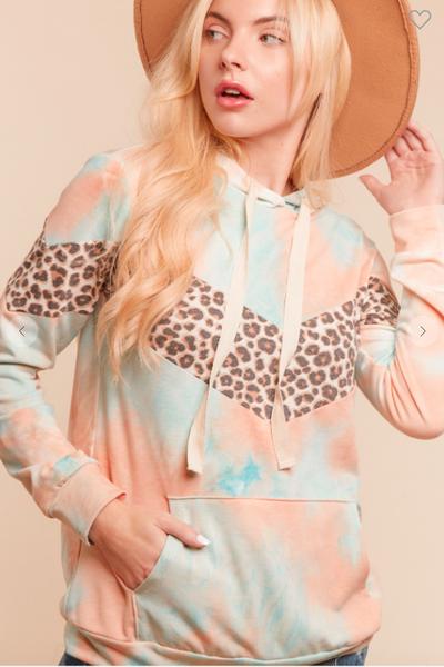 Peach/ Aqua Tie Dye Leopard Chevron Hoodie