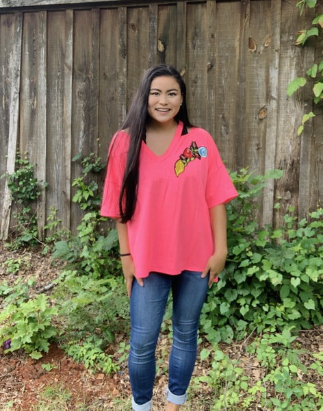 Hot Pink Shoulder Cutout Floral Embroidered Top