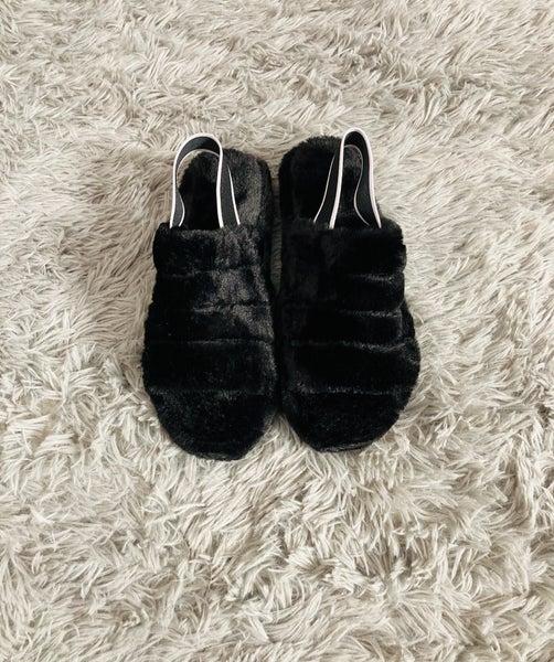 Black Fur Slippers