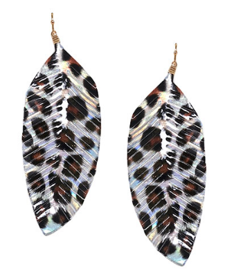 Leather Leopard Feather Earring