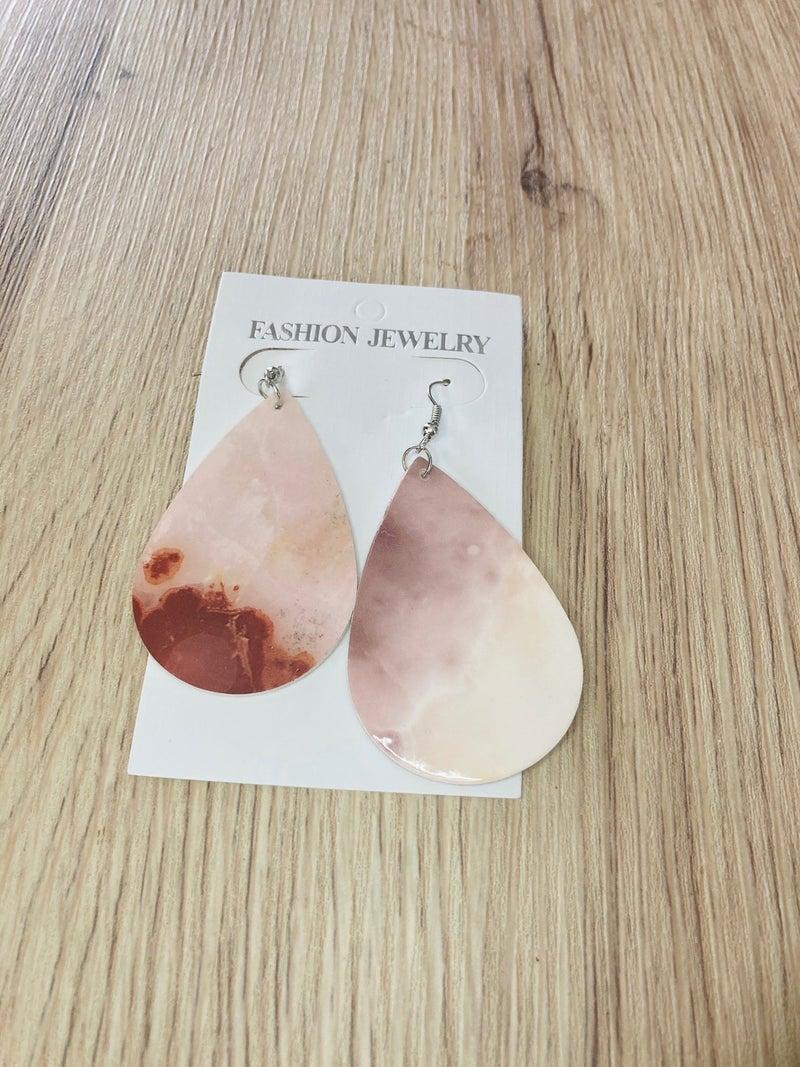 Peach Marbled Teardrop Earrings