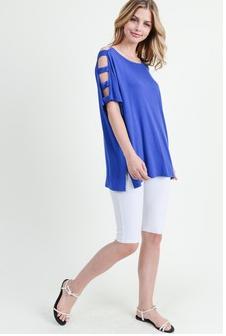 Royal Blue Short Dolman Sleeve Top w/ Lattice Arm Detail *Final Sale*