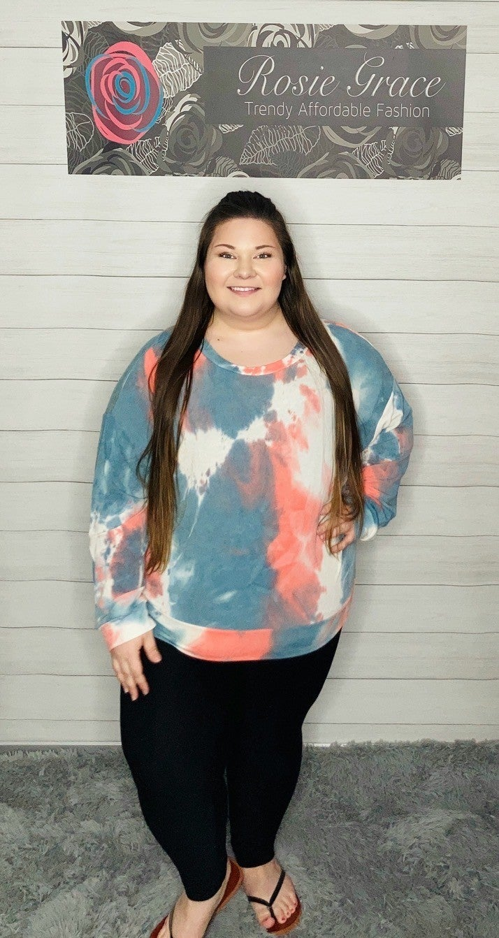 To-teal-ly Coral Tie Dye Top
