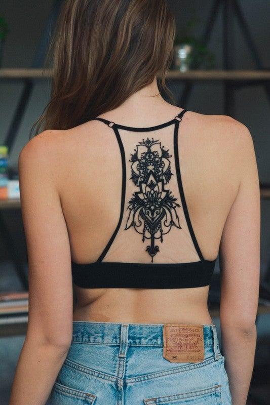 Black Tattoo Mesh Racerback Bralette