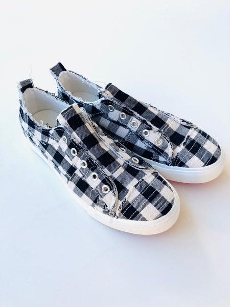Corkys White Plaid Babalu Slip-On Sneaker