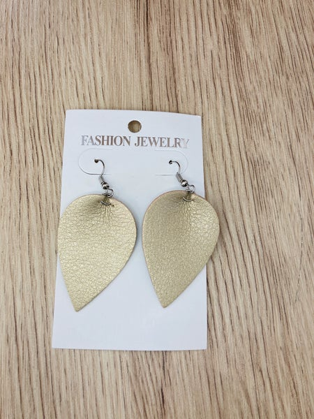 Gold Metallic Leaf Drop Earrings