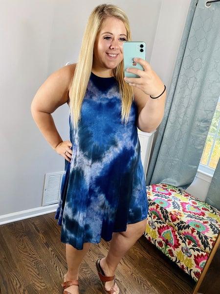 Navy Tie Dye Halter Dress