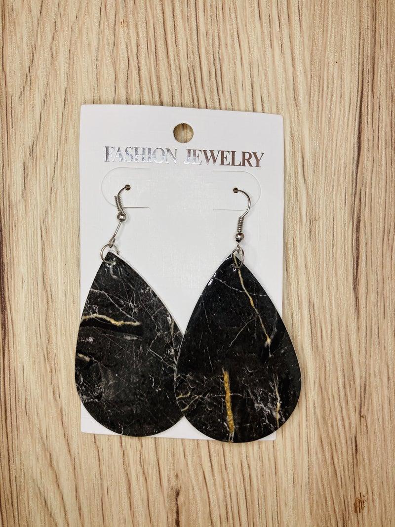 Black Marbled Teardrop Earrings