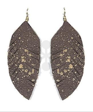 Leather Feather Earrings Gold Splatter