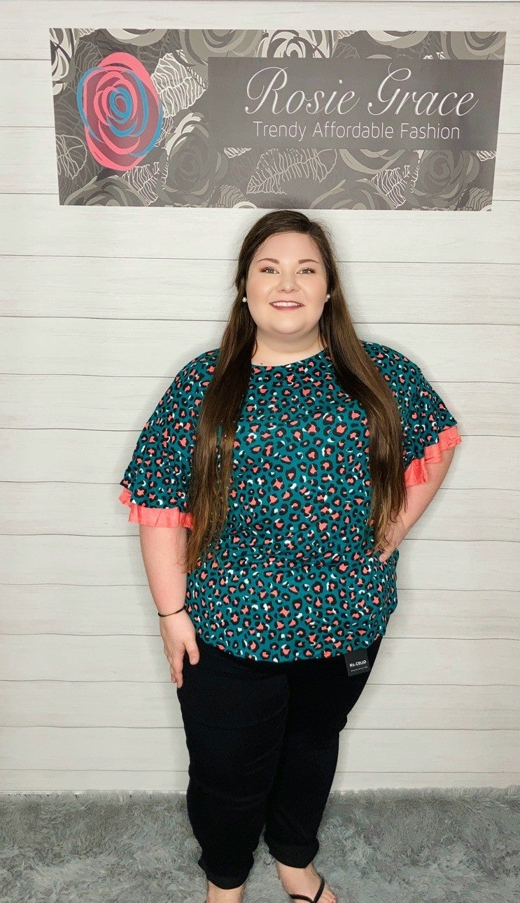 Teal And Coral Leopard Tunic with Layered Sleeves